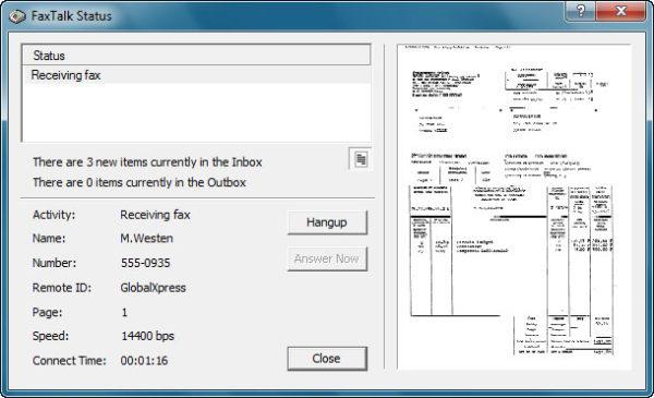 FaxTalk Status Dialog Box