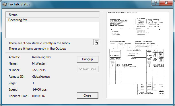 FaxTalk Status Dialog Box