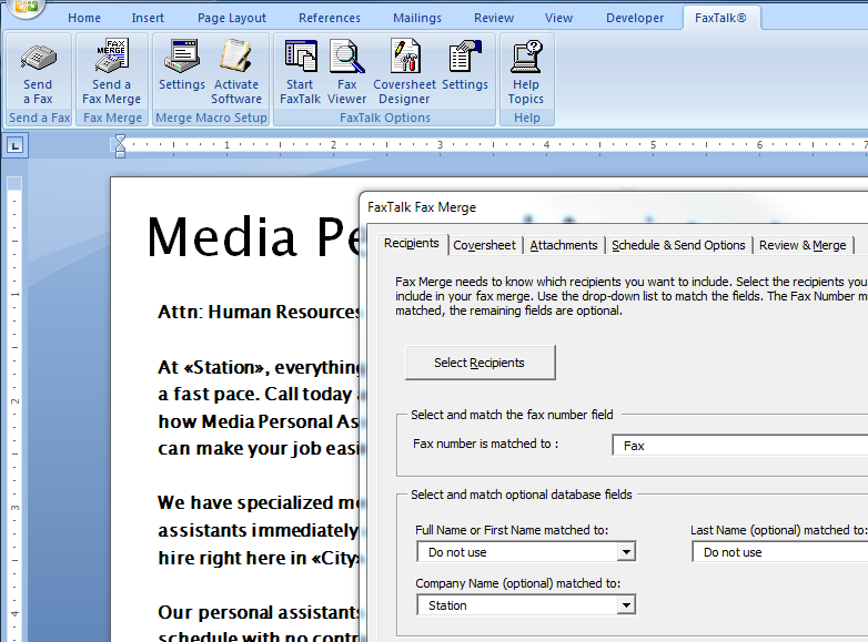 FaxTalk Fax Merge Add-on Screen