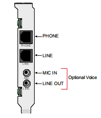 Line out jack for an internal fax voice modem