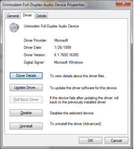 Unimodem Audio Driver Missing