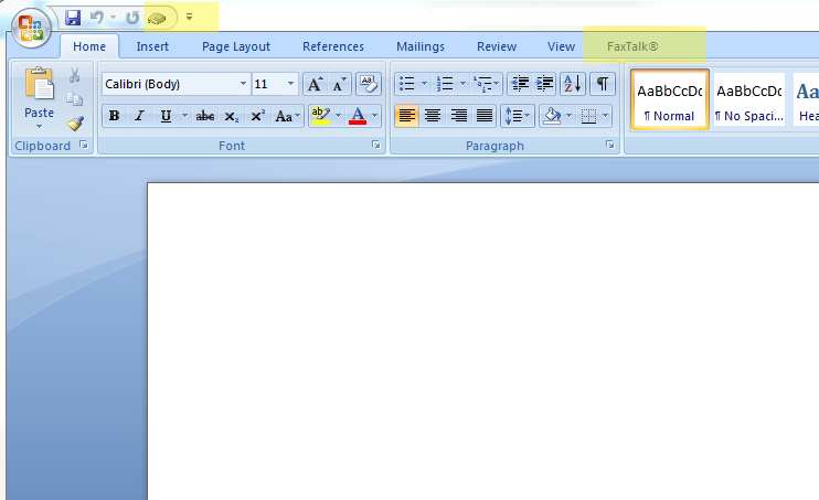 FaxTalk icon and the Microsoft Word FaxTalk ribbon