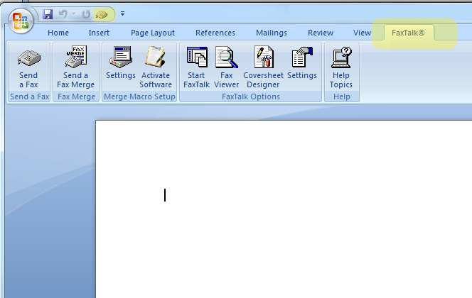 FaxTalk options from the Microsoft Word FaxTalk ribbon